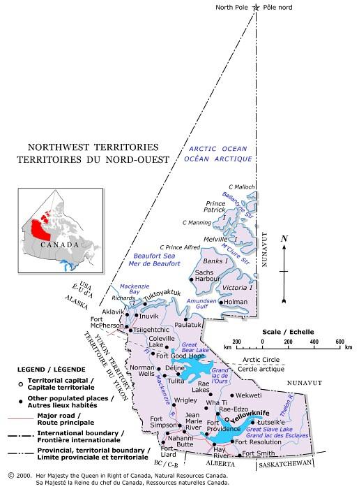 Carte Canada Nord Ouest.Canada Territoires Du Nord Ouest Carte Populationdata Net