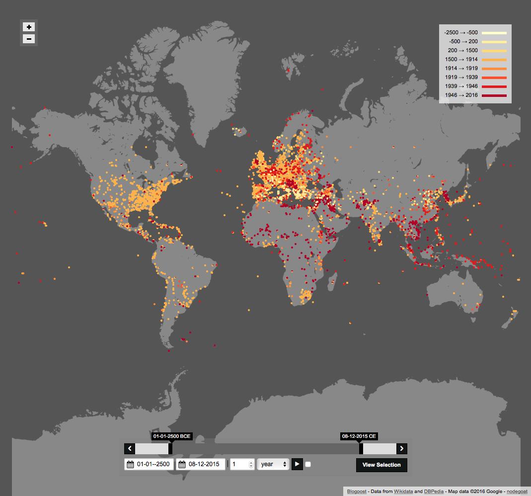 Carte de 4000 ans de batailles dans le monde