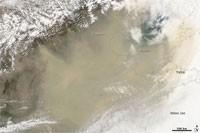 Chine : image satellite de la tempête de poussière