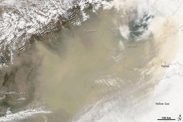 Une tempête de poussières en chine