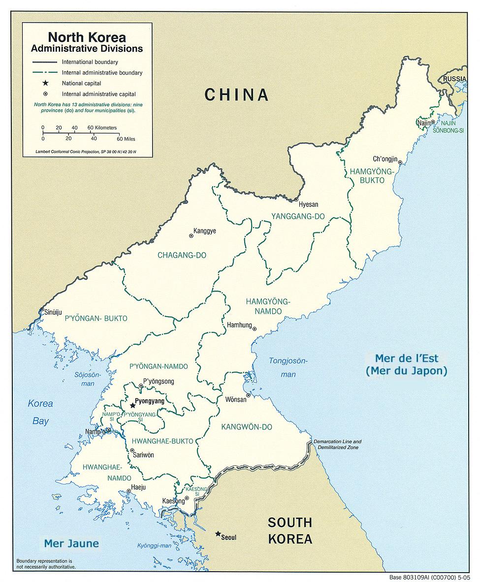 Corée du Nord - administrative