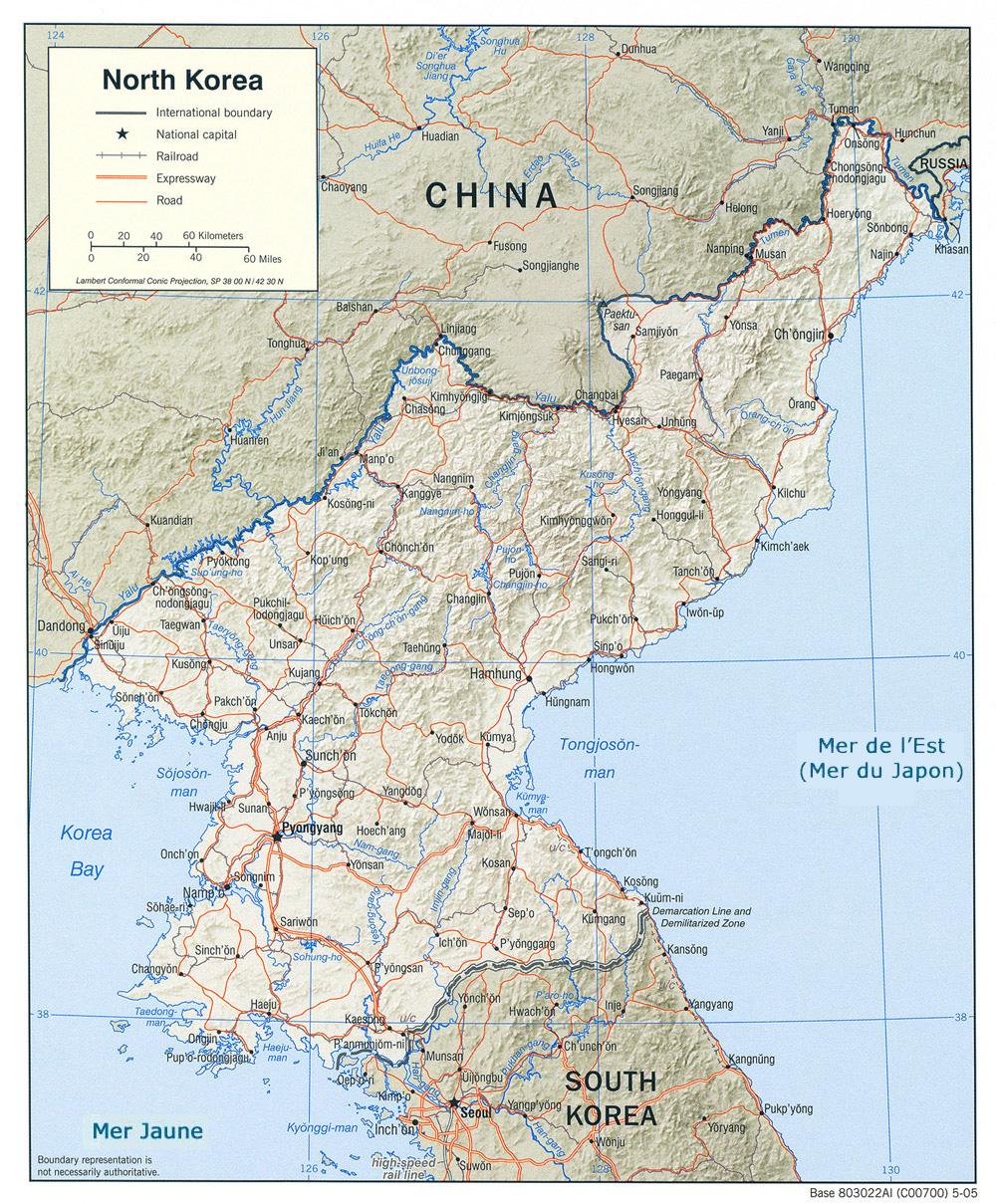 Corée du Nord - relief