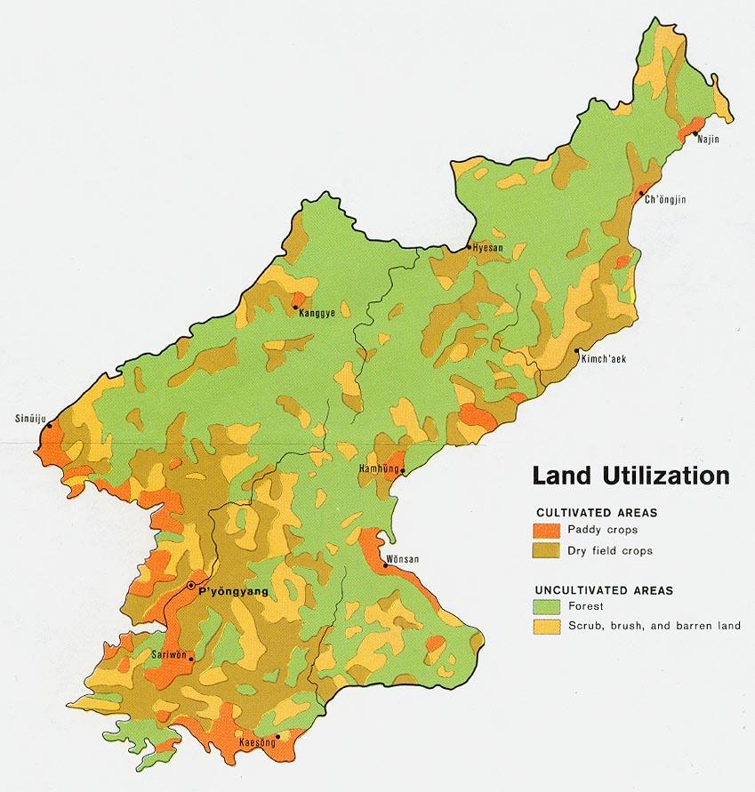Corée du Nord - utilisation des sols