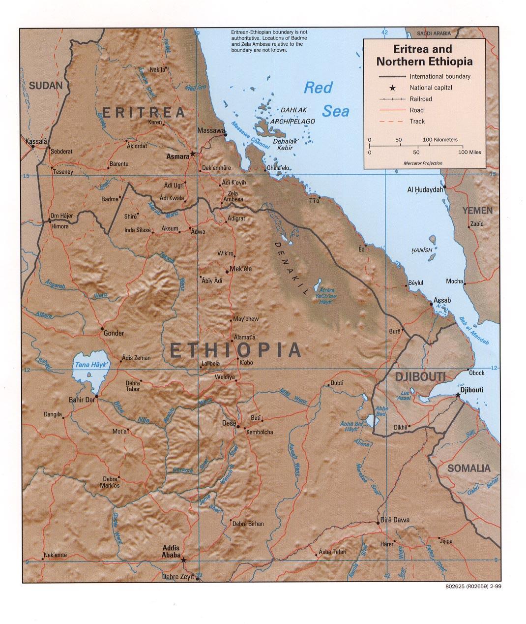 Erithrée-Ethiopie - relief