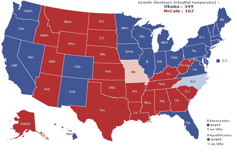 Tats unis lections pr sidentielles 2008 carte - Election presidentielle etats unis ...