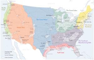 États-Unis : grandes régions et TGV