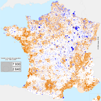 France : carte de l'évolution de la population