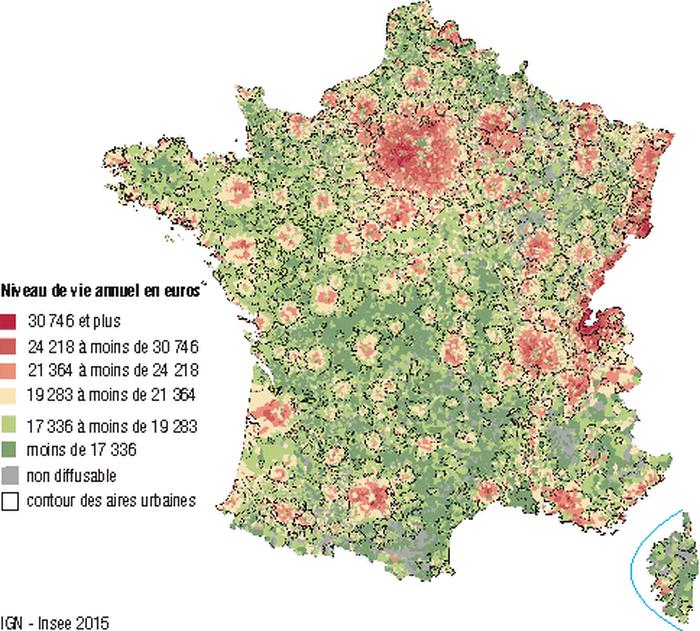 Souvent France - niveau de vie (2015) • Carte • PopulationData.net VF65