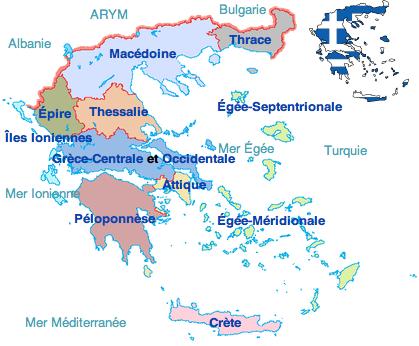 Grèce   régions (anciennes) • Carte • PopulationData.net