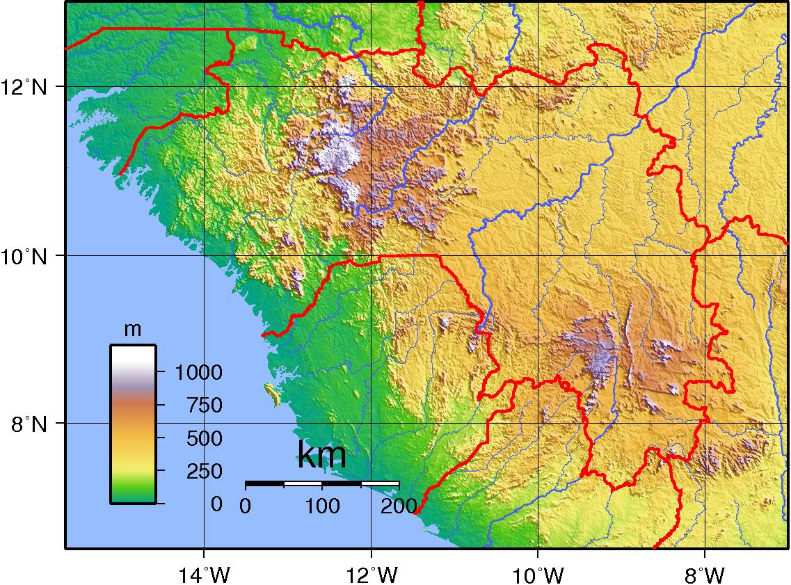 Guinée - relief topo