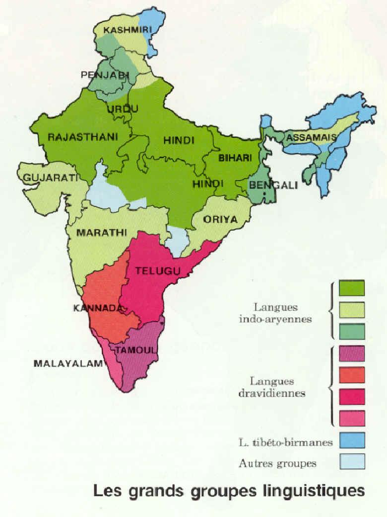 Carte Inde Idh.Inde Langues Carte Populationdata Net