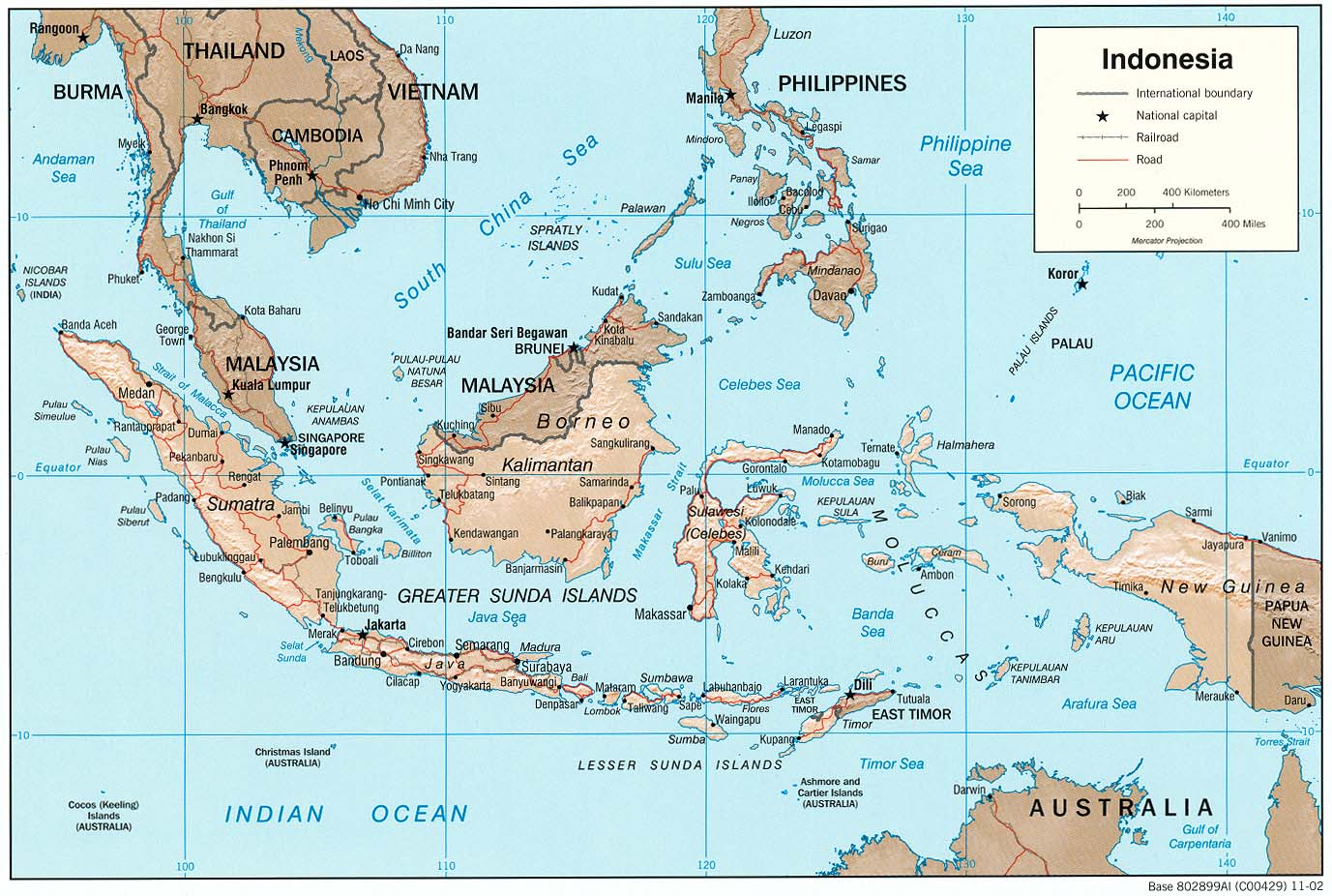 Indonésie - relief