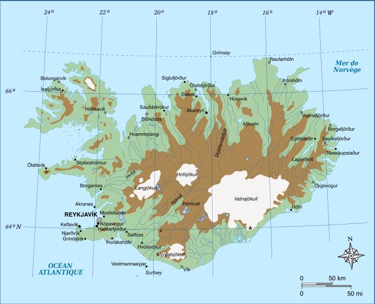 Islande - topographique