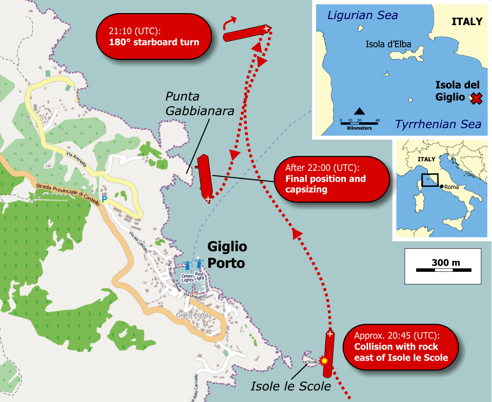 Italie Giglio Zone Du Naufrage Du Costa Concordia