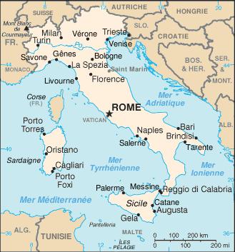 Carte Italie villes principales