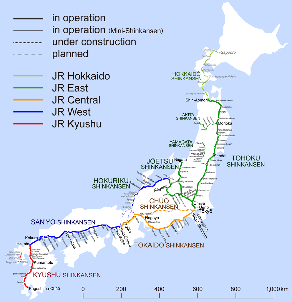 Japon   train Shinkansen (2015) • Carte • PopulationData.net