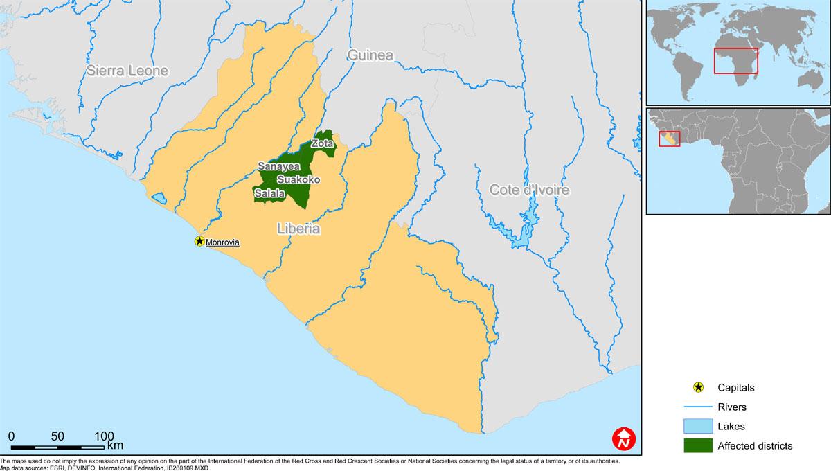 Libéria : invasion de chenilles - zones touchées