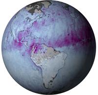 Monde : carte de l'activité des aérosols