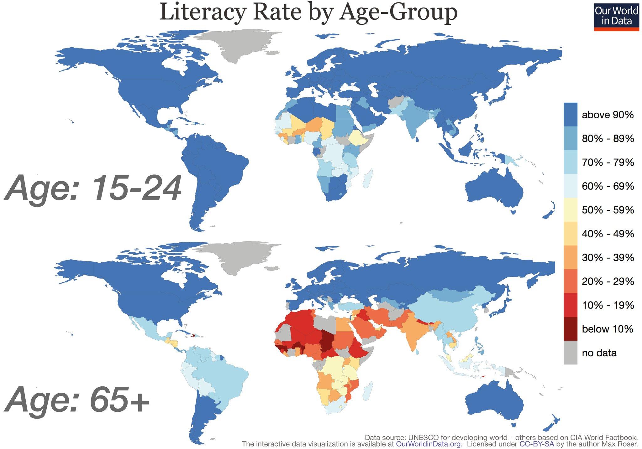 Monde   Alphabétisation jeunes vieux (2015) • Carte