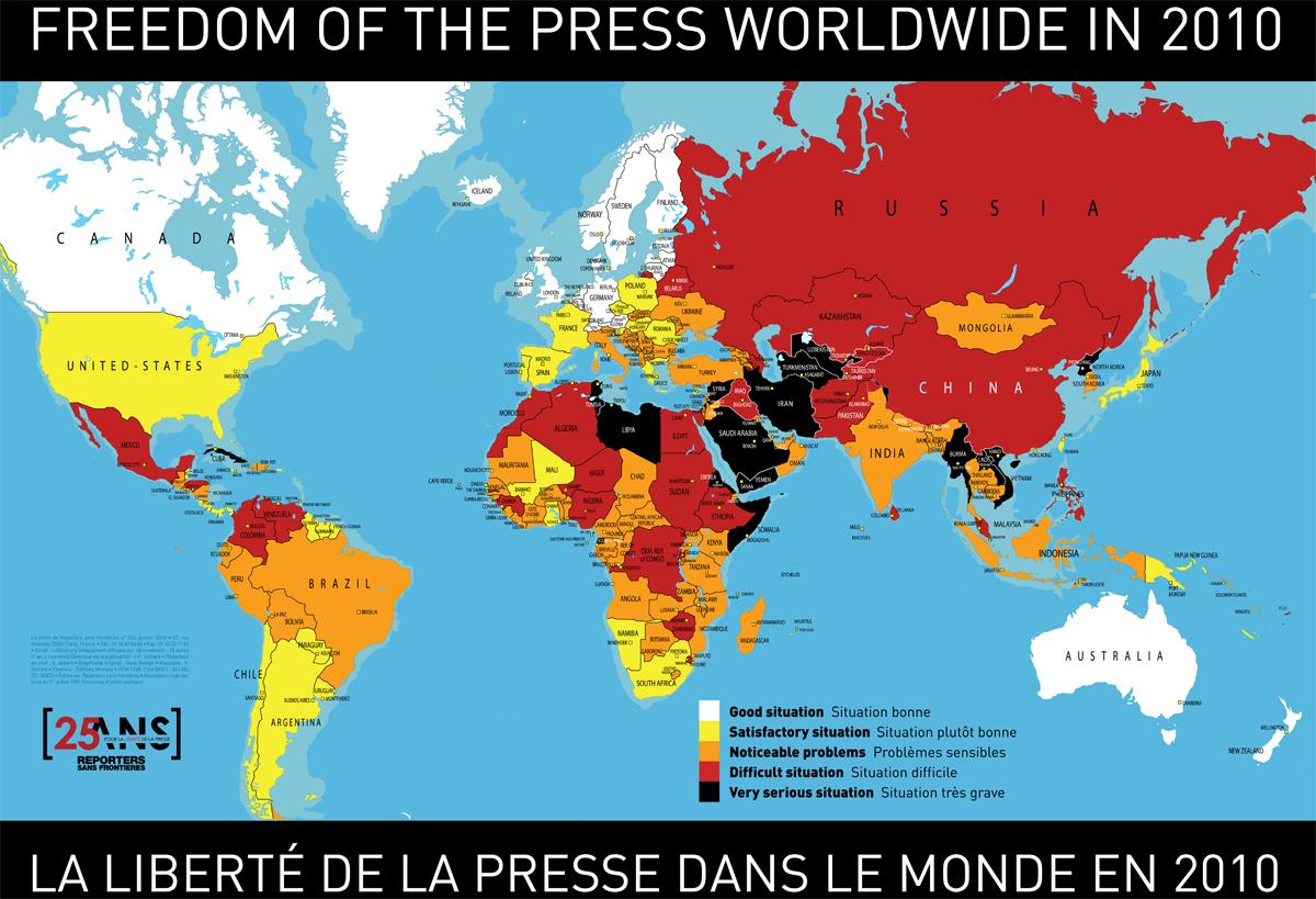 Carte de la liberté de la presse dans le monde en 2010