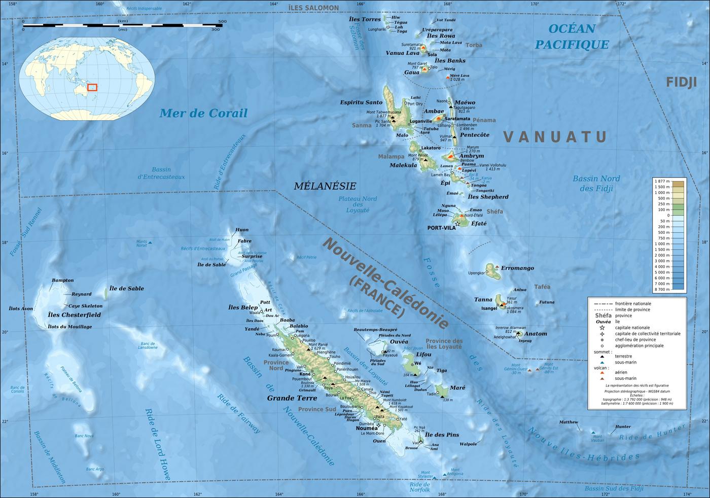Nouvelle-Calédonie - Vanuatu - topographique