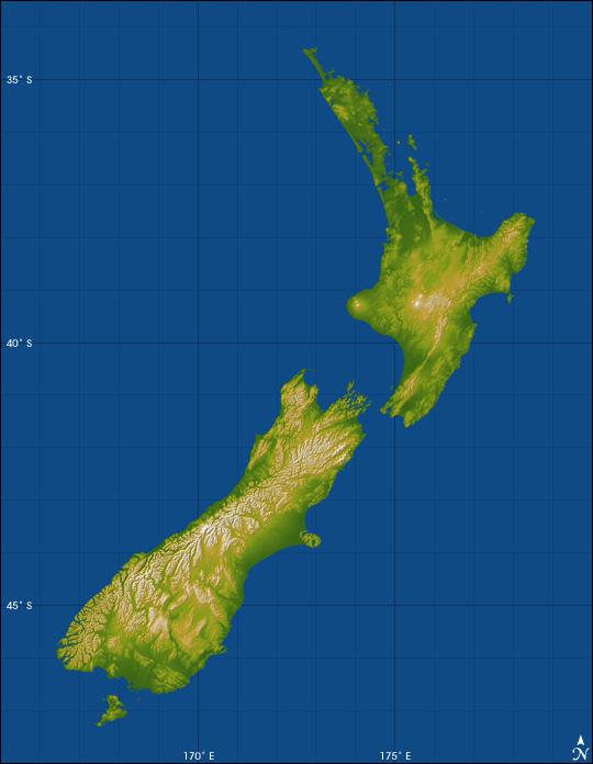 Nouvelle-Zélande - Topographie