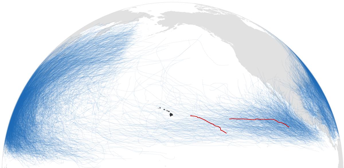 Trajectoires des ouragans Madeline et Lester dans le Pacifique.