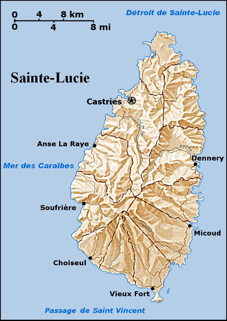 Sainte-Lucie - relief