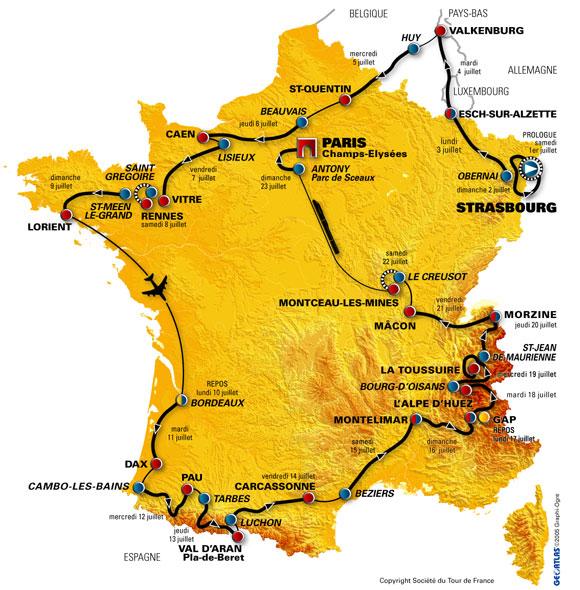 Carte du tour de france 2006
